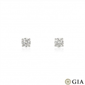 White Gold Round Brilliant Cut Diamond Earrings 1.49ct TDW